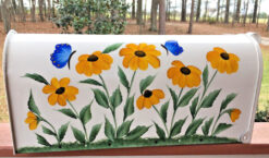 painted mailbox, black eyed susans