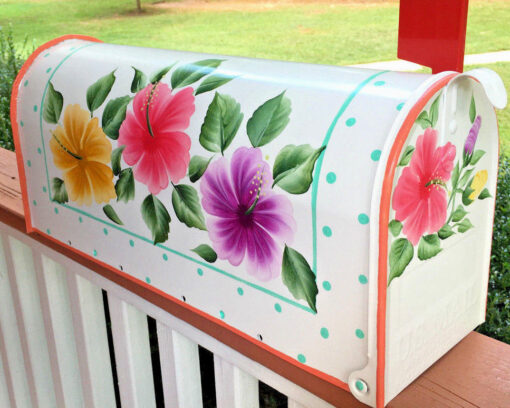 hand painted mailbox with hibiscus flowers