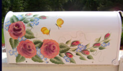 peace roses and yellow butterflies hand painted mailbox