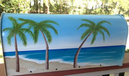 painted mailbox beach scene