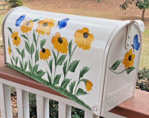 black eyed susans hand painted mailbox with blue butterflies