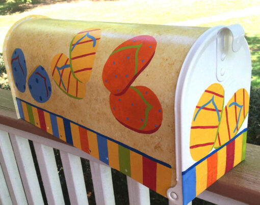 hand painted mailbox with flip flops