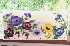 hand painted mailbox with colorful flowers pansy