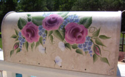 hand painted mailbox with roses flowers and butterflies