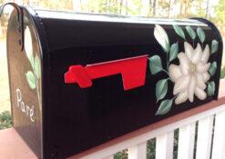 magnolia on black hand painted mailbox