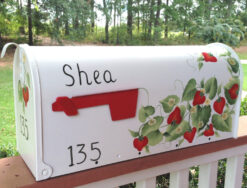 strawberries hand painted mailbox on white post mount