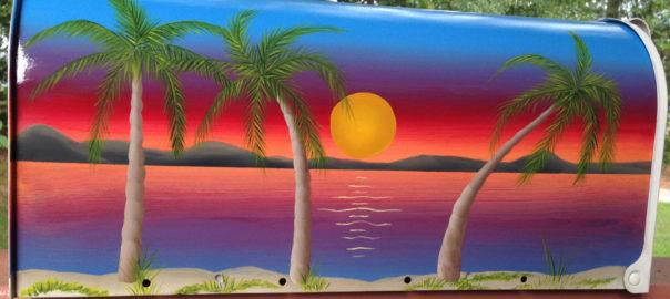hand painted beach scene mailbox with setting sun