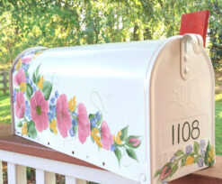 hand painted mailbox decorative roses pink flowers in blue and yellow