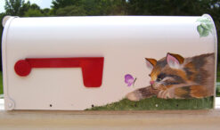 cat and butterfly hand painted mailbox