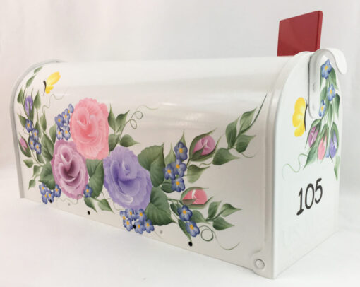 hand painted mailbox with colorful roses, flowers and butterflies