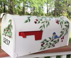 hand painted mailbox bluebirds in a cherry tree