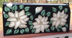 white magnolias hand painted mailbox on black