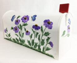 hand painted mailbox purple cone flowers with butterflies in blue