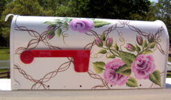 hand painted mailbox with pink roses