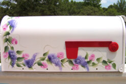roses and wisteria painted mailbox