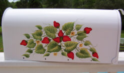 hand painted mailbox with strawberries