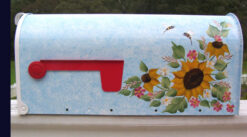 hand painted mailbox sunflowers bees and flowers on blue
