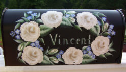 white rose oval hand painted mailbox