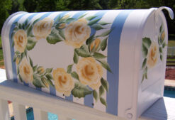 hand painted mailbox yellow roses