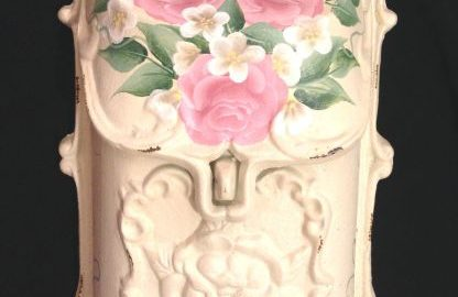 cast iron mailbox with soft pink roses