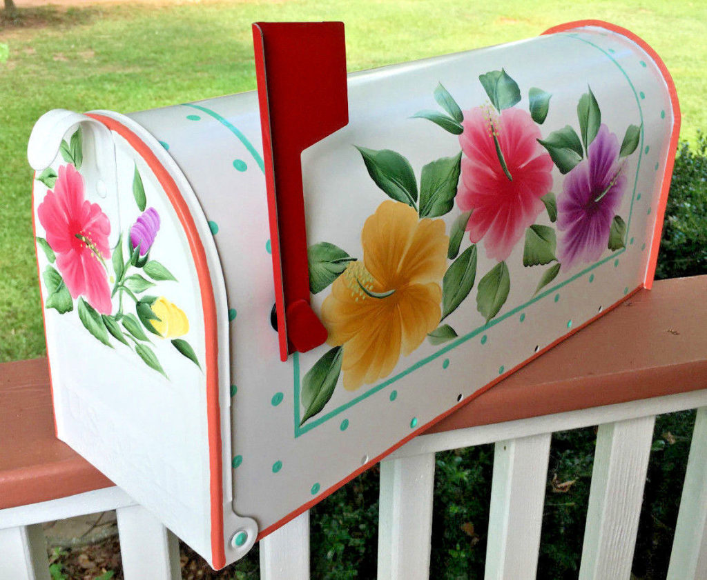 hand painted mailboxes colorful hibiscus flowers