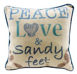 beach peace love and sandy feet pillow
