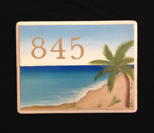 hand painted house numbers plaque with nautical beach and palms scene