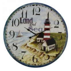 nautical lighthouse wall clock reads, land and sea