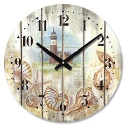 nautical wall clock with lighthouse and seashells