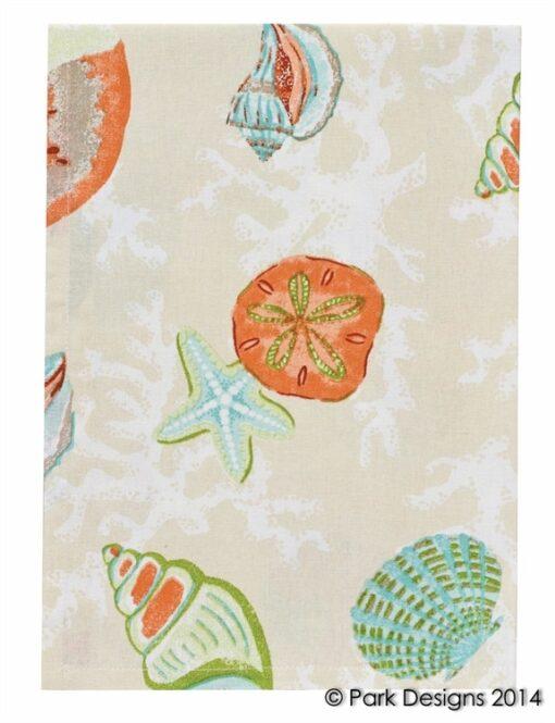 coral bay beach print kitchen towel