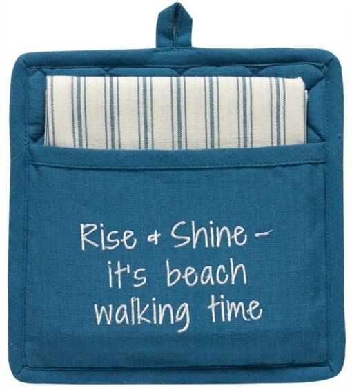 nautical beach potholder set reads rise & shine it's beach walking time