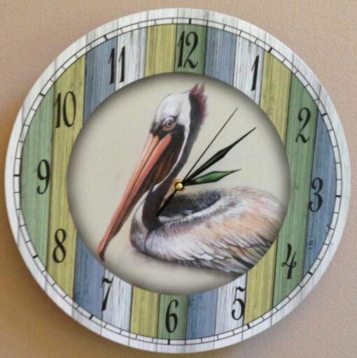 nautical pelican wall clock