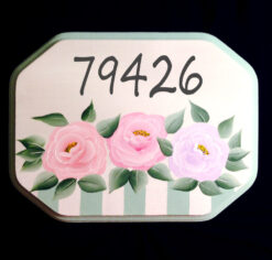 house numbers address plaque with cottage roses