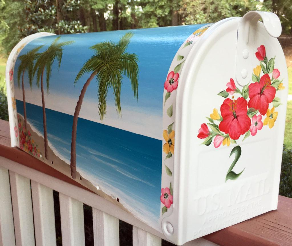 hand painted mailboxes hibiscus beach scene