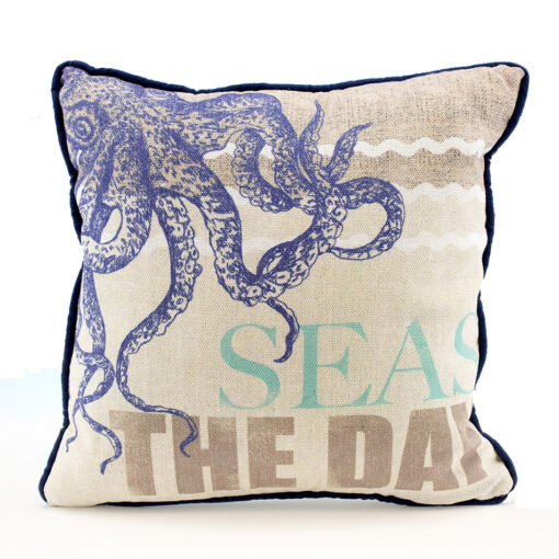 nautical octopus seas the day pillow