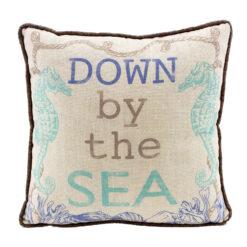 nautical seahorse throw pillow