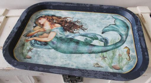 mermaid food safe tray navy blue