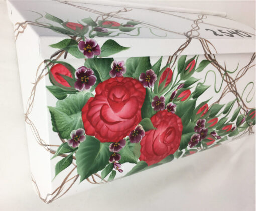 painted mailbox red roses