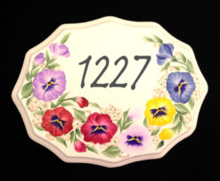 hand painted house address plaque with colorful pansies