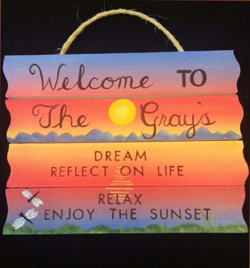 custom painted sign relax and welcome customized hand painted sign with sunset