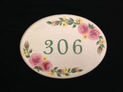 hand painted cottage roses house address plaque