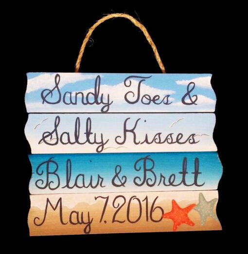 custom hand painted sign sandy toes salty kisses hand painted beach sign