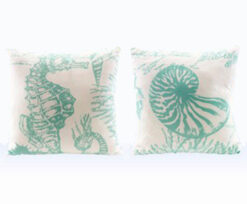 aqua teal and white sea life pillows