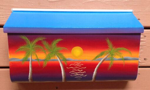 hand painted mailbox nautical sunset