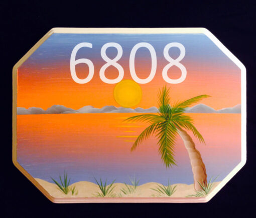 nautical house address plaque with beach scene and setting sun