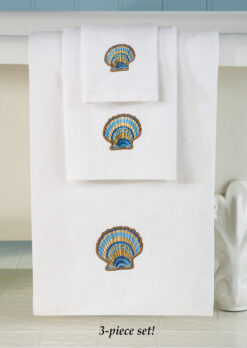 white towels with seashells