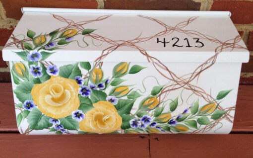 hand painted mailbox floral wall mount