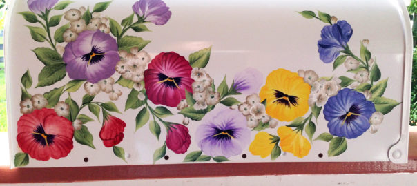 hand painted mailboxes, pansy post mount mailbox