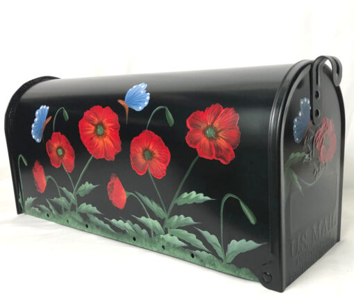hand painted post mount black mailbox with red poppies