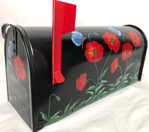 hand painted mailbox with red poppies